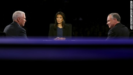 Republican vice presidential nominee Mike Pence speaks as Democratic vice presidential nominee Tim Kaine and debate moderator Elaine Quijano listen during the Vice Presidential Debate at Longwood University on Tuesday, October 4 in Farmville, Virginia.