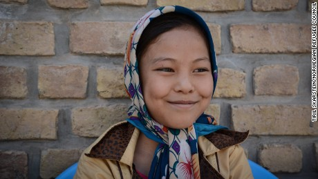 """Razia (12) was born in Iran, but her family is from Bamyan province in Afghanistan and they have now returned to the country and she is studying at Gabreal girls high school.   """"Peace"""", Razia (12) answers quickly, when asked about what she wants from the world leaders who are meeting to discuss the furture of her country.  """"War brings terror. Some children are scared by the fighting,"""" she explains. """"The insecurity has to decrease. Also some fathers say boys have to go to school, girls have to stay at home. It's not correct. Girls also have the right to an education. They should study""""."""