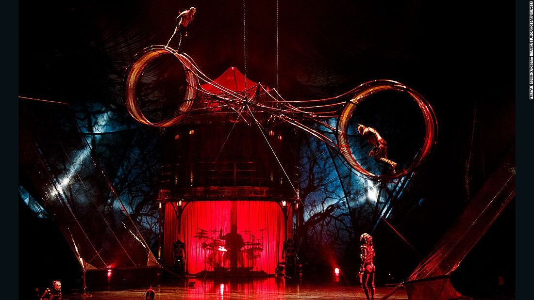 Kooza combines acrobatic performances (such as the wheel of death pictured here) and the art of clowning to tell the story of a melancholy loner in search of his place in the world.