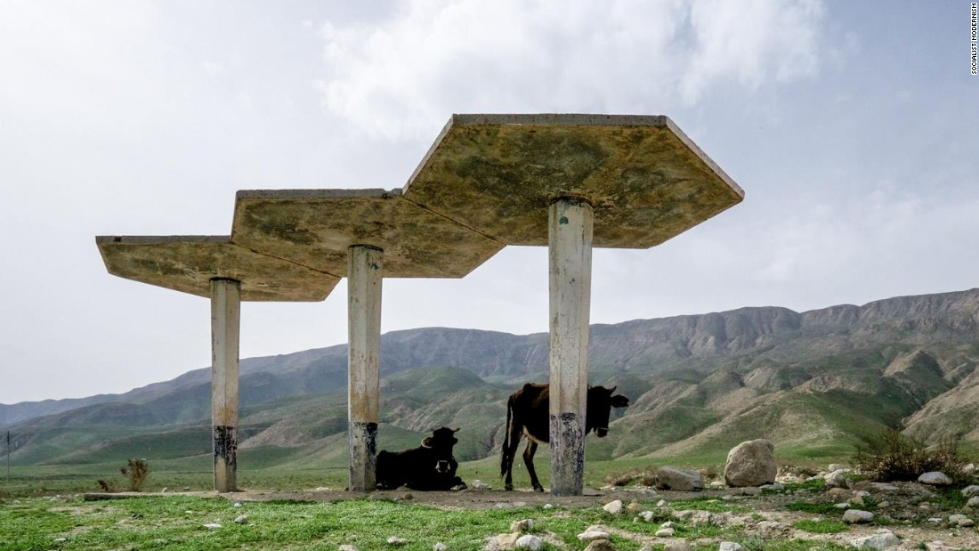 Bus Stop no 37 of the Tajikistan network, built late 1970s.