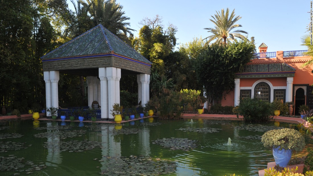 Part of the private Jardin Majorelle. Public relations director Quito Fierro says that a large colony of birds lives in the garden at night, but most of them disappear during the day. What visitors will be able to hear is a choir of croaking frogs between the garden's many pools and fountains.