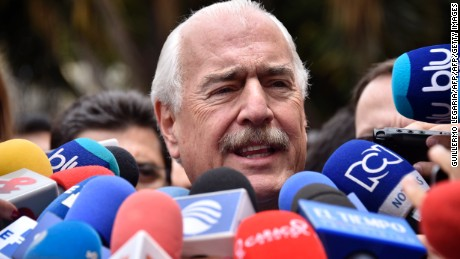 Colombian former president Andres Pastrana talks to the press after holding a meeting with Colombian President Juan Manuel Santos at Narino Palace in Bogota on October 5, 2016. Colombian President Juan Manuel Santos was meeting top opponents of his failed peace deal with the FARC rebels Wednesday after setting an end-of-the-month deadline to salvage the peace process or return to war. Voters on Sunday rejected the peace deal with the leftist guerrillas.   / AFP / Guillermo LEGARIA        (Photo credit should read GUILLERMO LEGARIA/AFP/Getty Images)