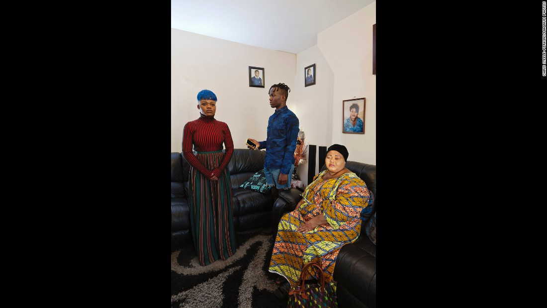 Feza Mbuyi, right, is from the Republic of Congo. She poses with her son Prince and daughter Vanessa.