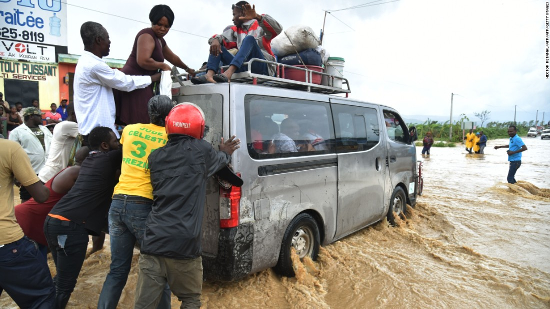 Some areas in south-west Haiti are effectively cut off, with communications disconnected and roads inaccessible due to flooding.