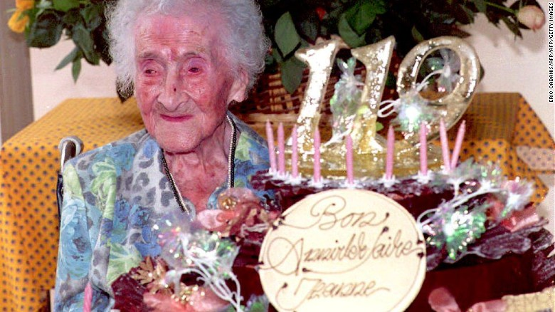 Jeanne Calment, the world's oldest woman, according to the Guinness Book of World Records,  celebrating her 119th birthday on February 12, 1994 in France. She died at age 122.