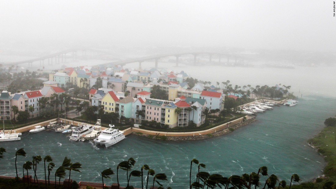 Hurricane Matthew moves through Paradise Island in Nassau, Bahamas, October 6. The head of the Bahamas National Emergency Management Authority, Capt. Stephen Russell, said there were many downed trees and power lines, but no reports of casualties.