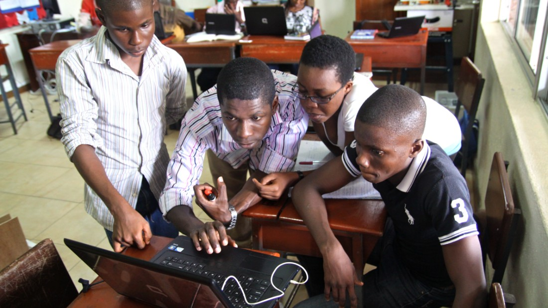 Students take part in a robotics academy in Lagos, Nigeria, which was started by MIT graduate Obinna Ukwuani.