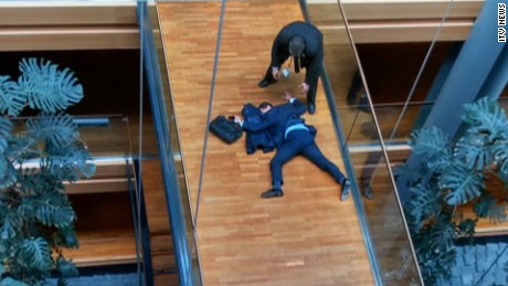 """UKIP MEP Steven Woolfe is shown collapsed in the European Parliament after an """"altercation."""""""