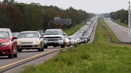 Bumper-to-bumper traffic heads out on State Road 528 away from Brevard County Thursday, October 6 as Hurricane Matthew targets Florida.