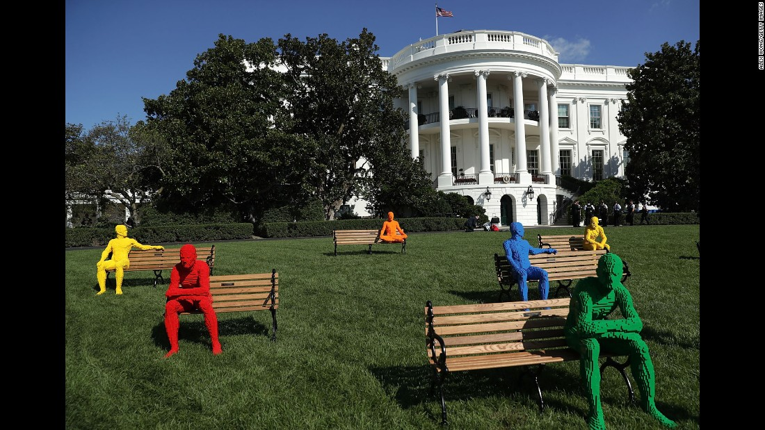 """A Lego art installation by Nathan Sawaya is set up on the South Lawn of the White House on Monday, October 3. It was part of <a href=""""https://www.whitehouse.gov/sxsl"""" target=""""_blank"""">South by South Lawn,</a> an event hosted by the White House."""