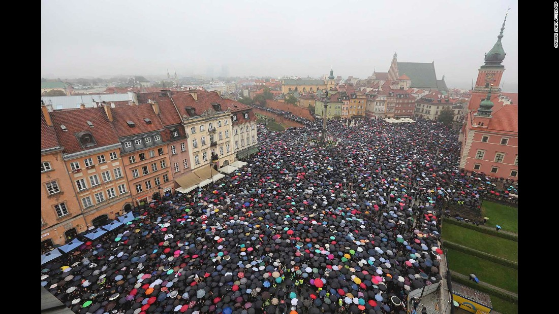 """People carry umbrellas in Warsaw, Poland, as they protest a proposed abortion ban on Monday, October 3. Poland's parliament <a href=""""http://www.cnn.com/2016/10/06/europe/poland-abortion-ban-rejected/"""" target=""""_blank"""">withdrew the legislation</a> several days later."""