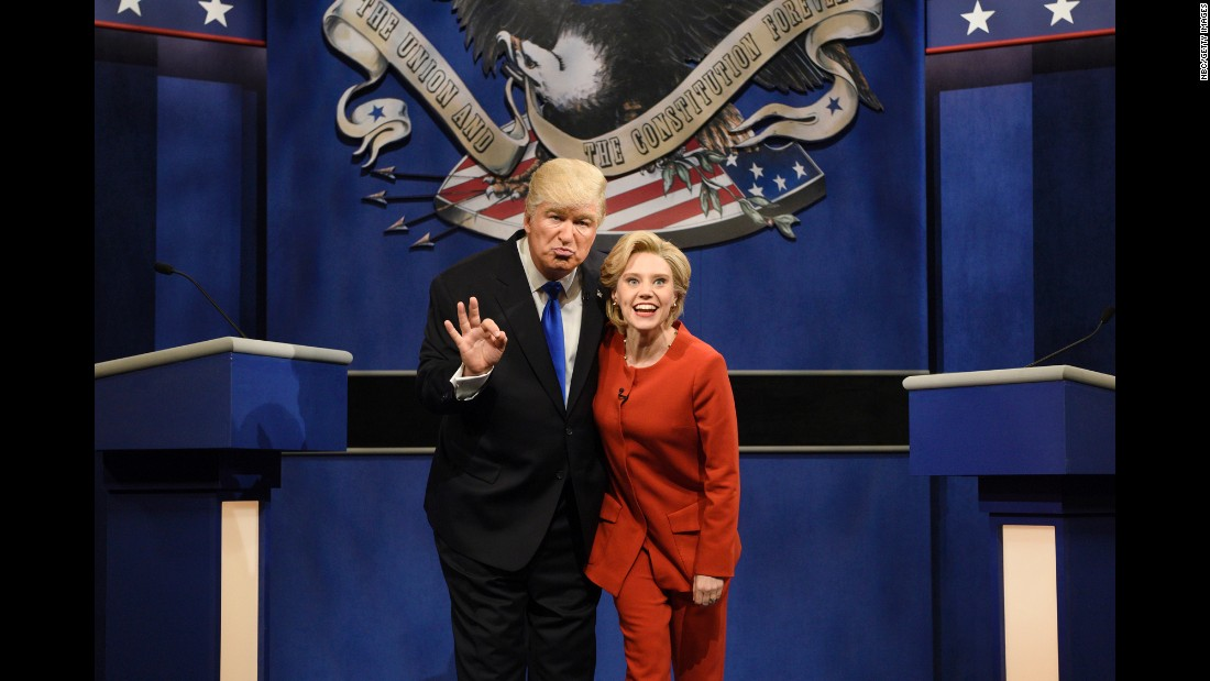 """Alec Baldwin and Kate McKinnon <a href=""""http://money.cnn.com/2016/10/01/media/snl-returns/index.html"""" target=""""_blank"""">play Donald Trump and Hillary Clinton</a> during a """"Saturday Night Live"""" skit on Saturday, October 1."""
