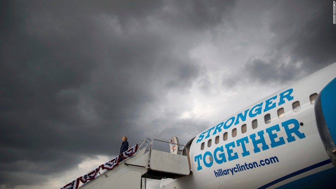 Democratic presidential nominee Hillary Clinton arrives at an airport in Middletown, Pennsylvania, on Tuesday, October 4.