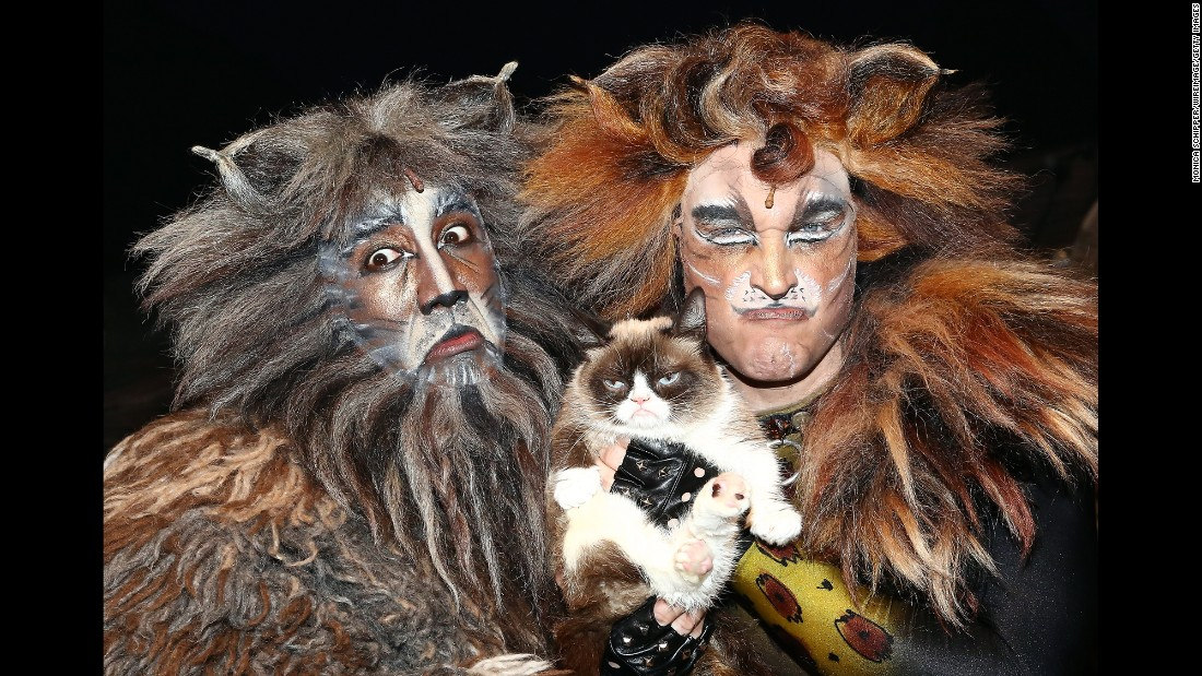 """The <a href=""""http://money.cnn.com/2015/04/14/technology/social/grumpy-cat-celebrity-money/"""" target=""""_blank"""">viral sensation</a> Grumpy Cat visited the cast of Broadway's """"Cats"""" -- including Quentin Earl Darrington, left, and Tyler Hanes -- on Friday, September 30."""