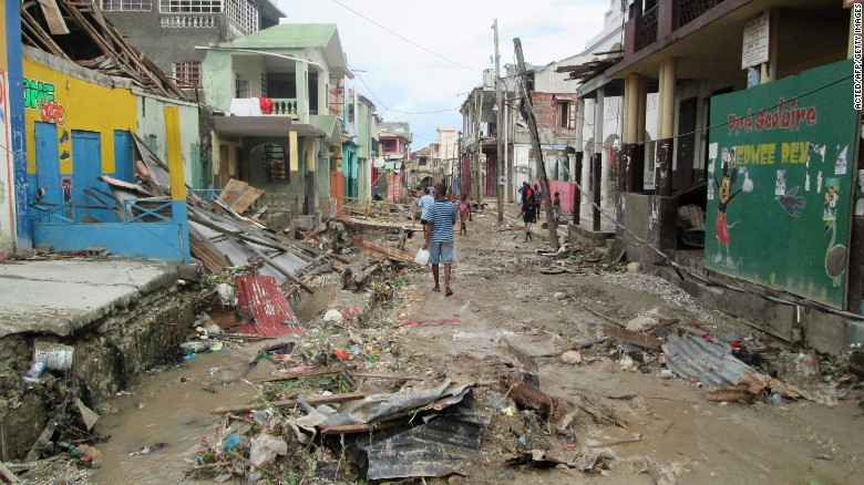 The devastated town of Jeremie, west Haiti, in the aftermath of the hurricane.