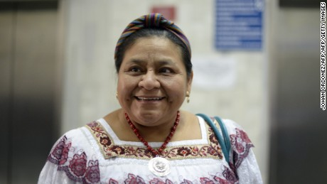 Guatemalan 1992 Nobel Peace Prize laureate Rigoberta Menchu is seen during the conclusions of the hearing of the trial of former Guatemalan police chief Pedro Garcia Arredondo in Guatemala City on January 12, 2015. Arredondo is accused of ordering the 1980 fire at the Spanish embassy that killed 37 people, including the father of Menchu. AFP PHOTO / Johan ORDONEZ        (Photo credit should read JOHAN ORDONEZ/AFP/Getty Images)
