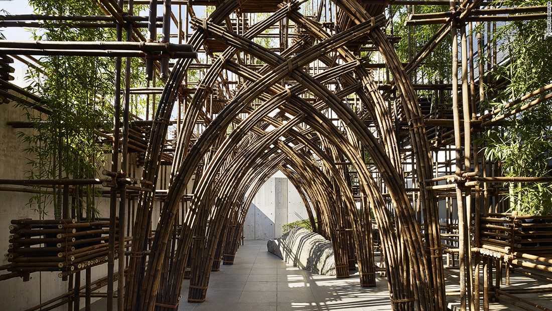 Vo Trong Nghia Architects built a pavilion using bamboo -- no metal joints were involved, only bamboo pegs and rope.