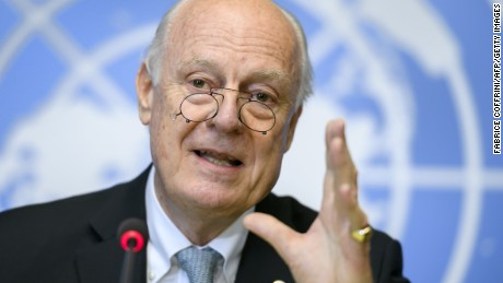 UN Syria envoy Staffan de Mistura holds a press briefing on the Aleppo situation at the UN offices in Geneva.