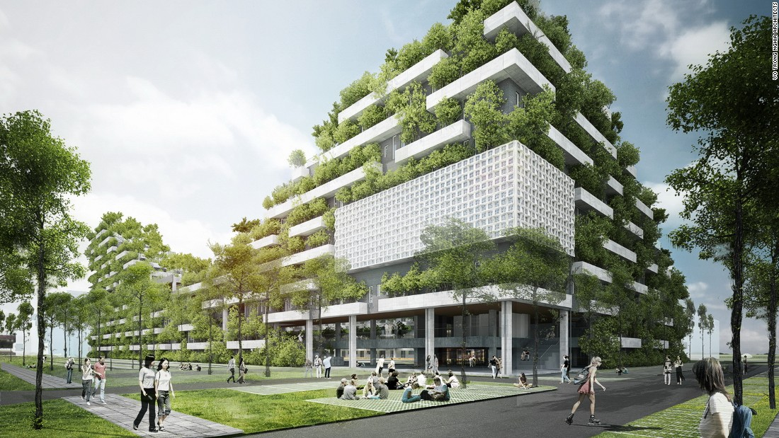 """Billed as an """"undulating forested mountain"""" in a concrete city, Vo Trong Nghia Architects says the university will be an """"exclusive urban park""""."""
