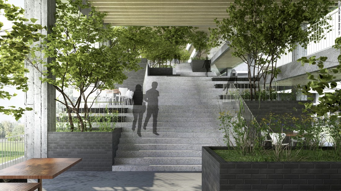 The campus will accommodate 5,000 students and provide both shade and good quality air thanks to the building's extensive use of vegetation.