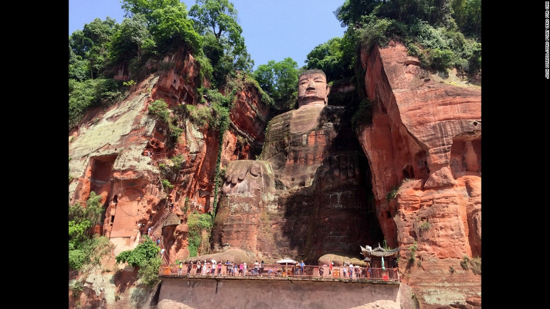 They traveled about two hours south of Chengdu to see the Giant Buddha in Leshan. Carving started in 713 A.D. on what is still the largest stone Buddha in the world.