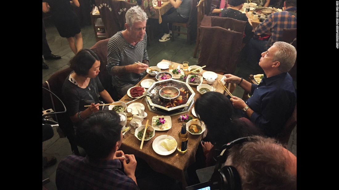 Bourdain and Ripert also sampled the classic hot pot communal meal at Liang Lukou in Chengdu. Diners order a variety of meat, vegetables and fish and cook the ingredients in spicy, bubbling broth.