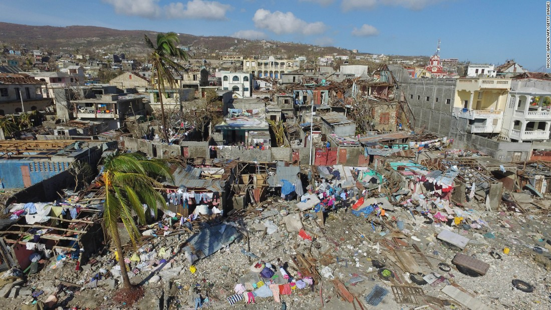 An aerial view of the destruction in Jeremie, Haiti, caused by Hurricane Matthew on October 8.