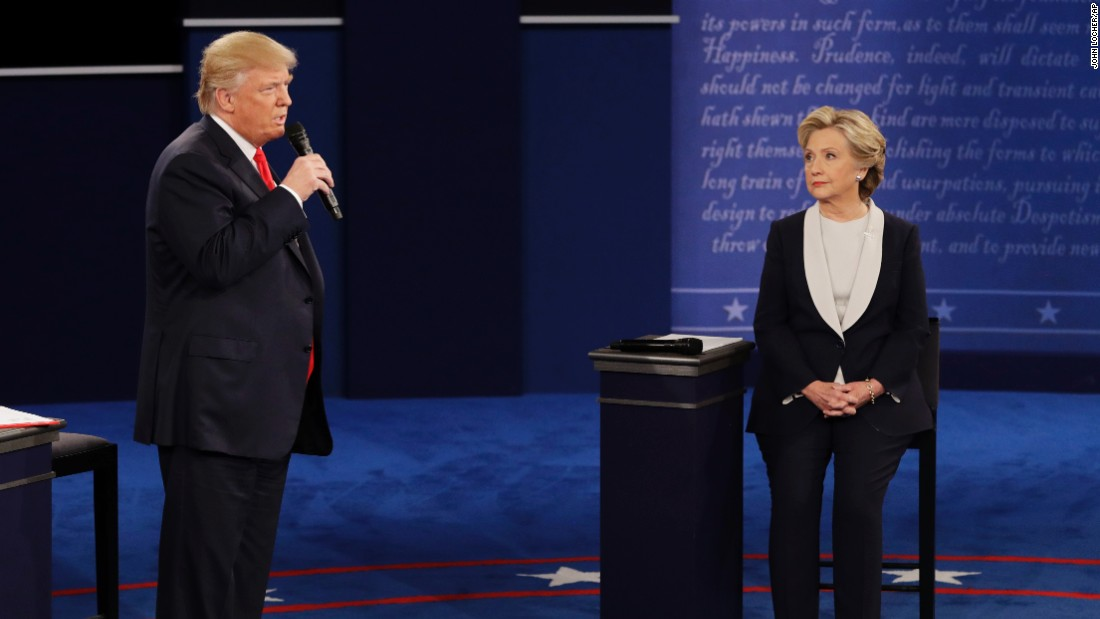 "At the beginning of the debate, Trump apologized for lewd remarks he made <a href=""http://www.cnn.com/2016/10/07/politics/donald-trump-women-vulgar/index.html"" target=""_blank"">during a 2005 video</a> that surfaced last week. He called it ""locker room talk"" before pivoting to terrorism and ""bad things happening"" in the world."