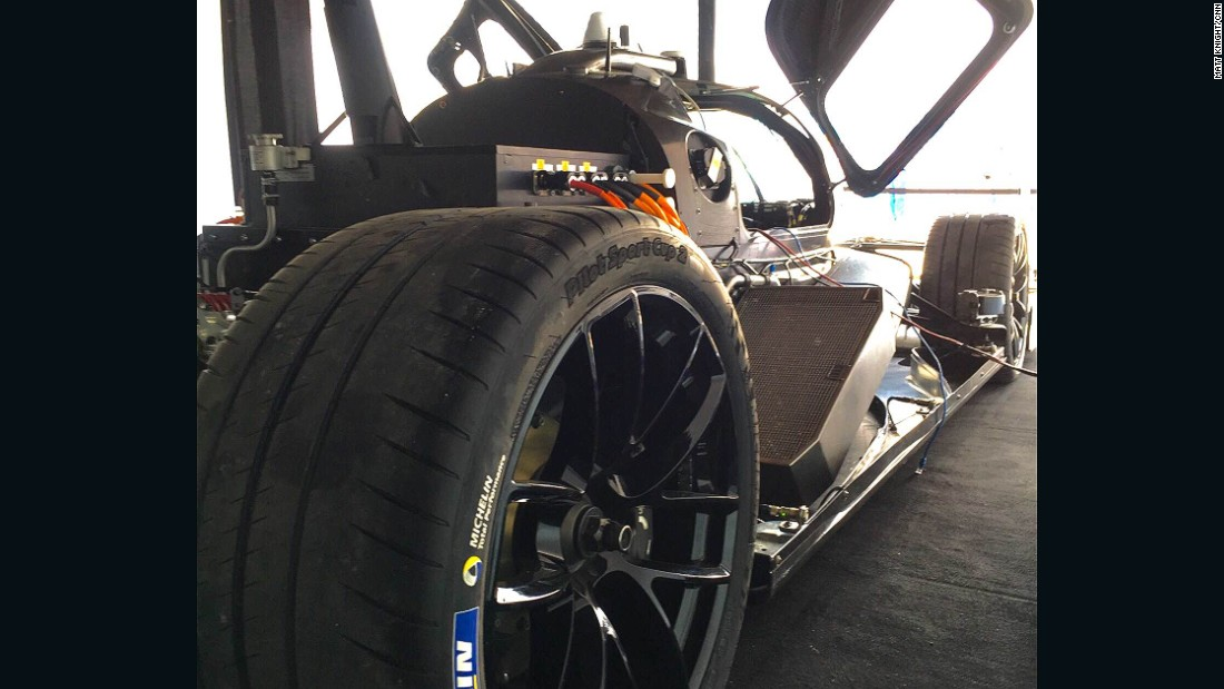 The autonomous vehicle is being developed by Roborace and can reach speeds of 215 mph (350 kph).