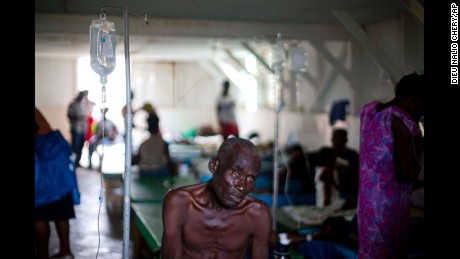 A victim of cholera receives treatment at the state hospital in Jeremie.