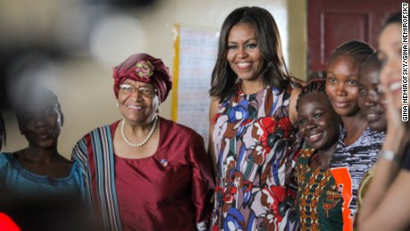 President Sirleaf, First Lady Michelle Obama meet with the girls in Liberia. Photo by Gina Nemirofsky