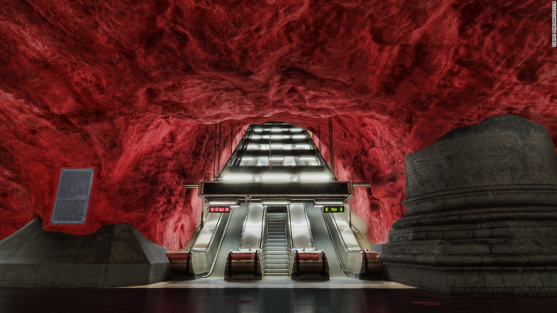 """The underground can be a scary place at the best of times. The queues, the big squeeze, the stress. Radhuset subway station in Stockholm, Sweden makes the morning commute feel like a descent into hell, or an escape from it, depending on which way you're traveling. The sculptural finish is one of over 90 subway stations in the city to have been decorated by over 150 artists. (Picture via <a href=""""https://creativecommons.org/licenses/by/2.0/"""" target=""""_blank"""">Creative Commons 2.0</a>.)"""