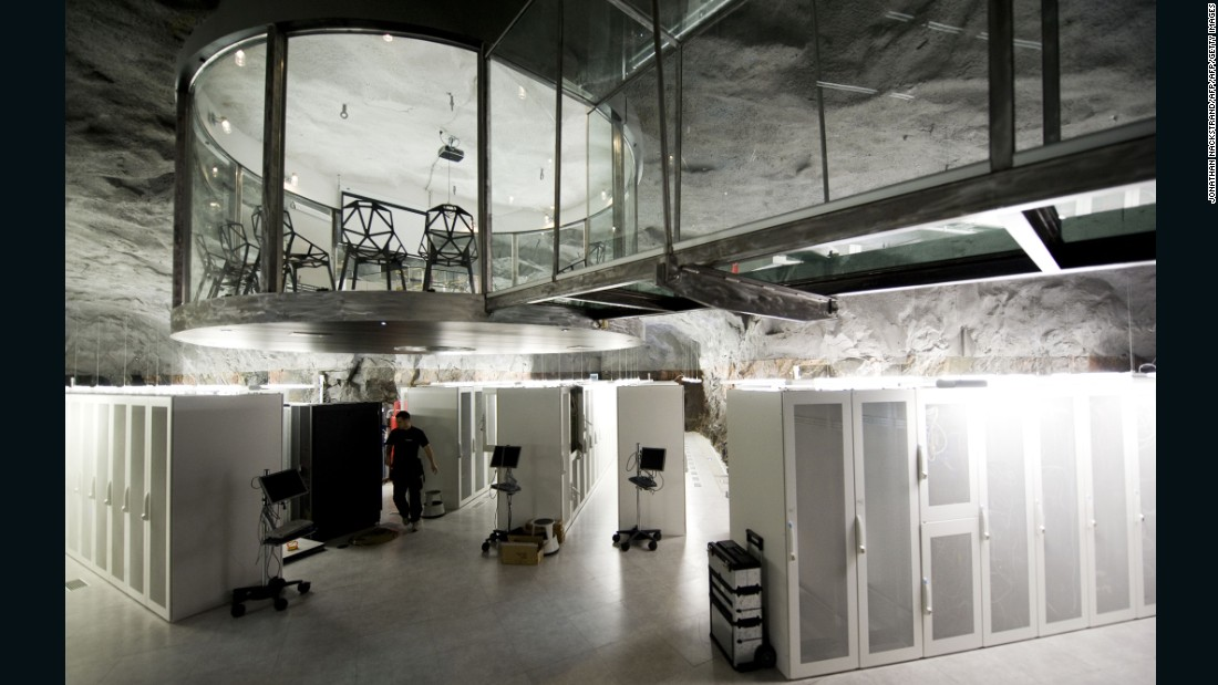 Once a Cold War-era bunker and nuclear shelter, now the center is home to banks of computers holding secure data. What looks like a set from a James Bond film has witnessed some action in its time (albeit of the digital kind): Swedish Bahnhof, the company who runs the center, once hosted WikiLeaks servers. Buried under the mountain behind a 16 inch thick wall, it was built to withstand a hydrogen bomb.