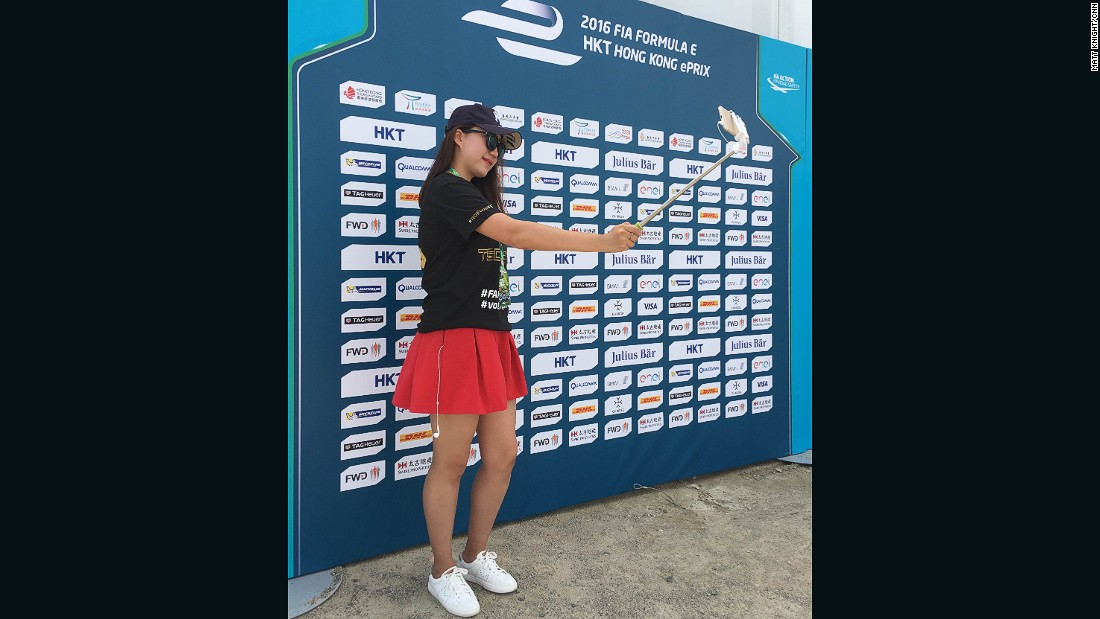 There were plenty of selfie sticks in use around the eVillage at the Hong Kong ePrix.