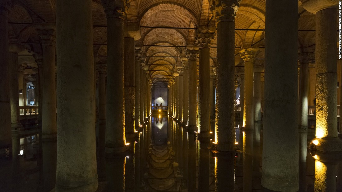 Istanbul's Byzantine cistern, dating from the sixth century, was constructed for Justinianus I as an underground reservoir. Named after the marble columns within the chamber, the 460 feet by 230 feet room was previously a Roman basilica. The cistern fell out of favor under Ottoman rule (who preferred running water), and it was only 'rediscovered' in the sixteenth century by Dutch traveler P. Gyllius while roaming the Hagia Sofia nearby. Households above the cistern had been drawing water from 'wells' cut into their ground floors -- some were even known to fish. Gyllius, a veritable Indiana Jones, navigated the waters on a rowing boat with a lamp. Today the cistern is uplit and easily accessible for visitors.