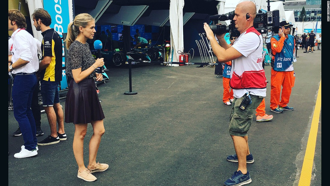 CNN Supercharged presenter, Nicki Shields filming links in the pit lane on Sunday.