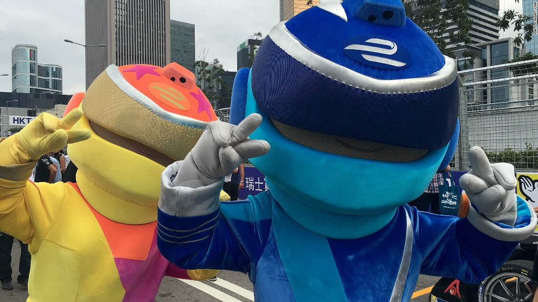 Formula E mascots ACee and DC on the grid before Sunday's race.