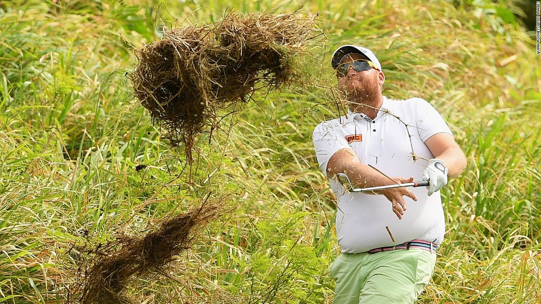 Aaron Pike plays a shot out of the rough during the Fiji International golf tournament on Saturday, October 8.