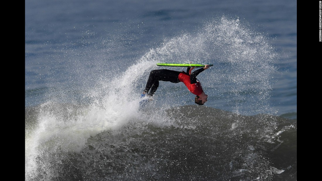Antonio Cardoso flips in the air Thursday, October 6, during the seventh stage of the Bodyboard World Tour. The event was held in Nazare, Portugal.