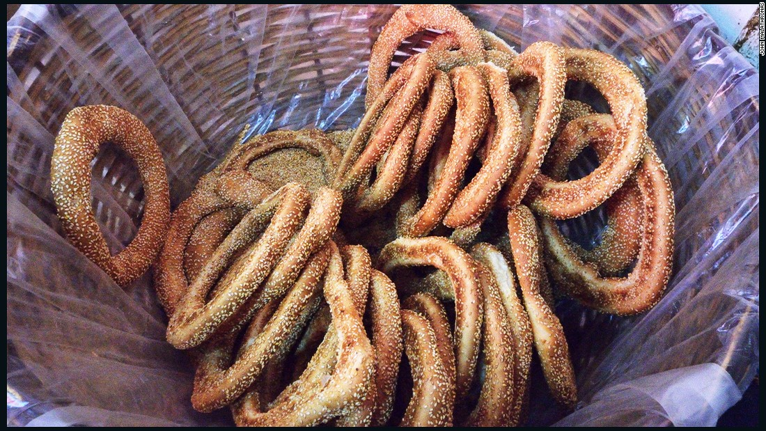 Koulouri -- baked dough rings covered with sesame seeds -- are an Athens classic. A popular hangover cure, they've been compared to German pretzels or Jewish bagels.