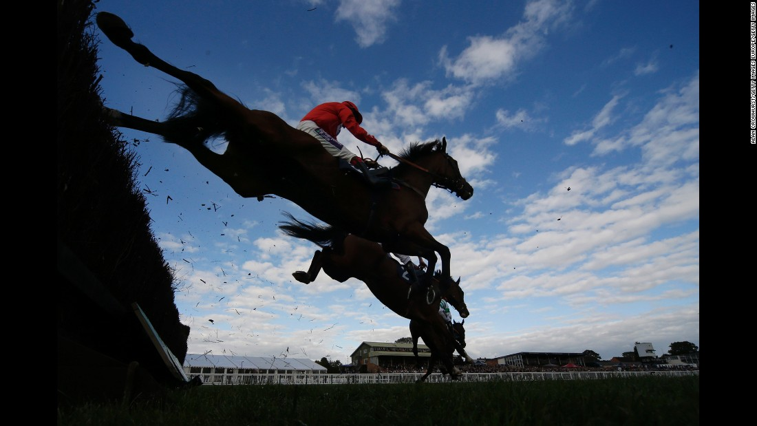 Horses clear a fence during a race in Hereford, England, on Thursday, October 6.