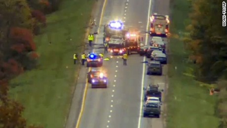As the wrong-way driver attempted to escape he crashed into eight vehicles, police said.