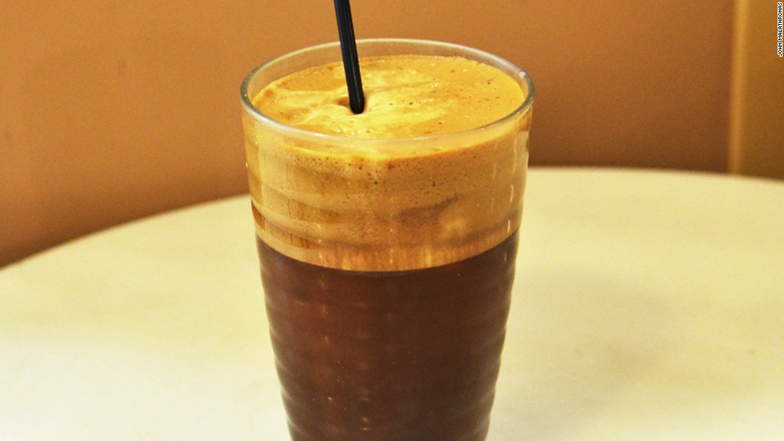 Cold frappé is claimed as Greece's other contribution to coffee culture.  It's made from Nescafé instant powder beaten with cold water and ice -- a perfect thirst quencher.