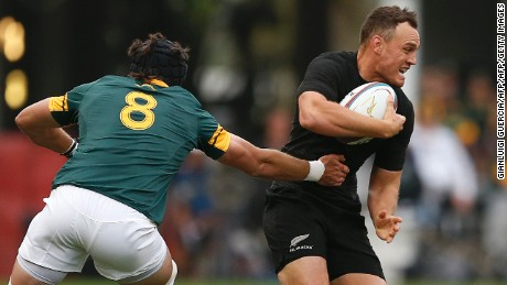 South Africa's Warren Whiteley (L) tackles New Zealand's Israel Dagg during the Rugby Championship match between South Africa and New Zealand at Kingspark Rugby stadium in Durban on October 8, 2016. / AFP / GIANLUIGI GUERCIA        (Photo credit should read GIANLUIGI GUERCIA/AFP/Getty Images)