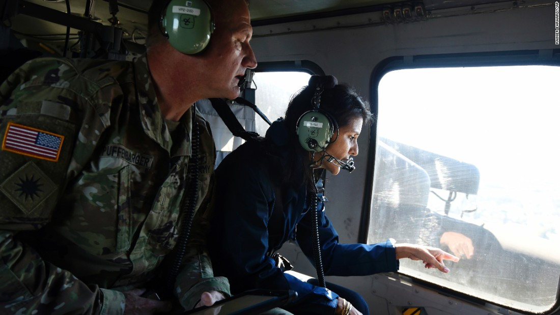 South Carolina Gov. Nikki Haley checks flooding near Nichols on October 10.