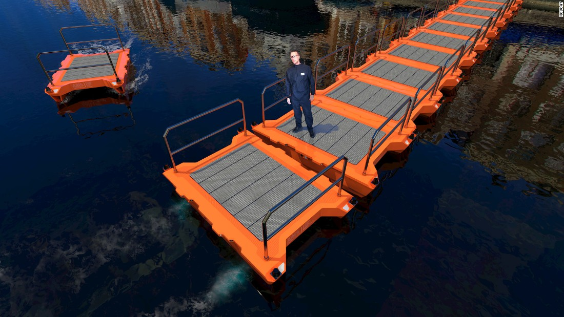 The design allows the Roboats to be connected together to form floating bridges and platforms, which can serve a variety of purposes including emergency relief and water-based entertainment venues.