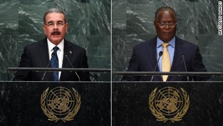 Danilo Medina Sanchez, the president of the Dominican Republic (L) and Jocelerme Privert, the interim president of Haiti.