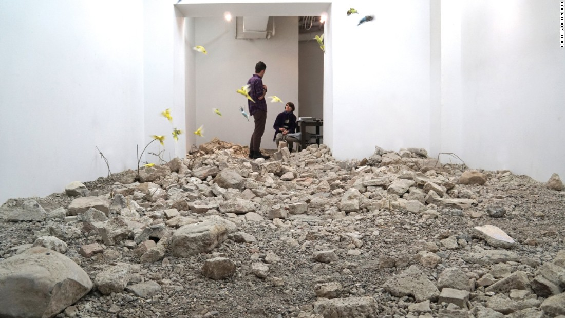 For this installation, Roth filled a gallery with debris from the war in Syria, and created a landscape in which rescued parakeets would live throughout the duration of the exhibition.