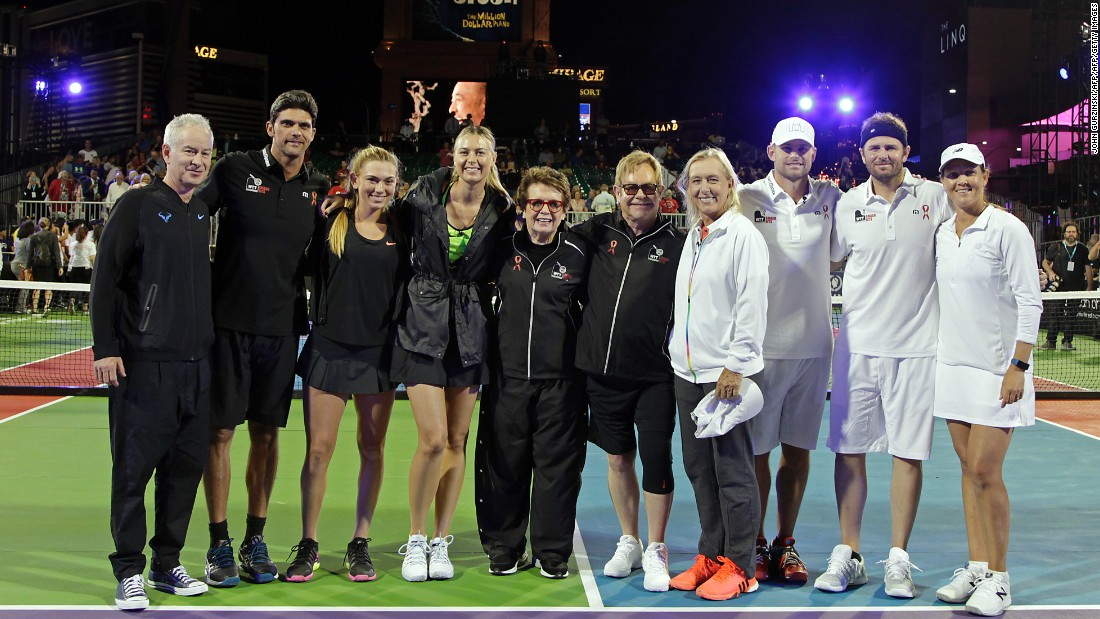 The event featured a number of tennis greats and big celebrity names. From left to right: John McEnroe, Mark Philippoussis, Taylor Johnson, Maria Sharapova, Billie Jean King, musician Elton John , Martina Navratilova, Andy Roddick, Mardy Fish and Liezel Huber.