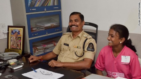 Bhavani Banu with Station House Officer, Mr. B. Mohan Kumar.